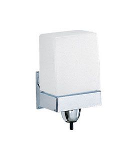 photo de Vertical Wall-Mounted White Plastic Soap Dispenser