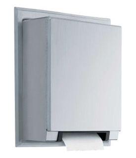 photo de Distribueur de papier essuie-mains Automatique en acier inox. satiné semi-encastré