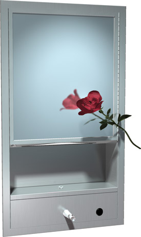 photo de Recessed cabinet with shelf, mirror, paper towel and soap dispenser.