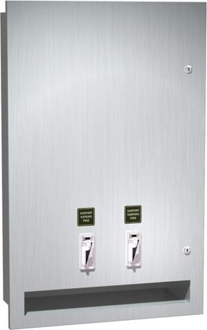 Distributeur à serviettes hygiéniques/tampons encastré